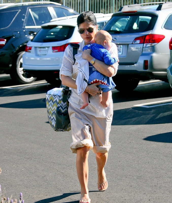 Selma Blair Takes Baby Arthur For A Swim