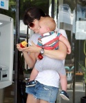 Selma Blair and her handsome lad Arthur Saint snack on a peach