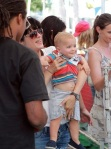 Selma Blair takes son Arthur to the petting zoo