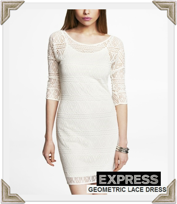 Express Geometric Lace Dress worn by Selma Blair April 12, 2013