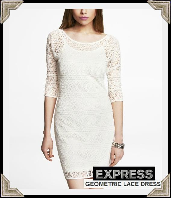 Express Geometric Lace Dress worn by Selma Blair April 12, 2013