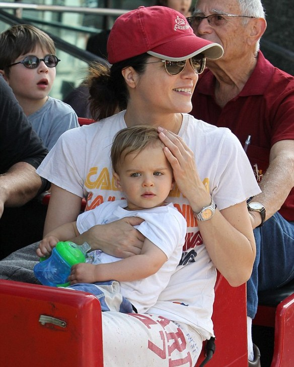 Selma Blair and son Arthur at the farmers market