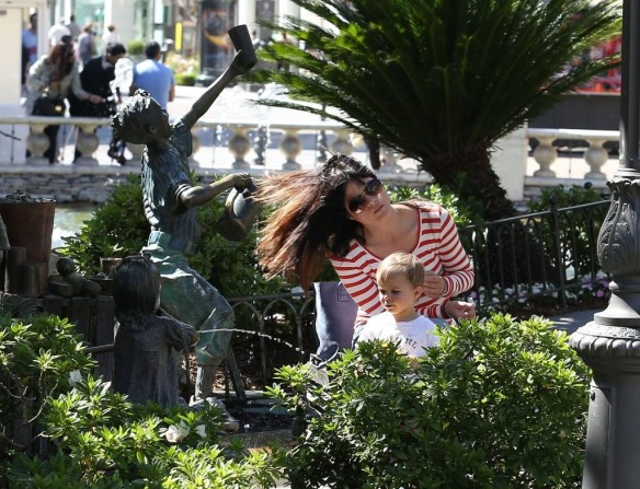 Selma Blair & Son in Stripes 1