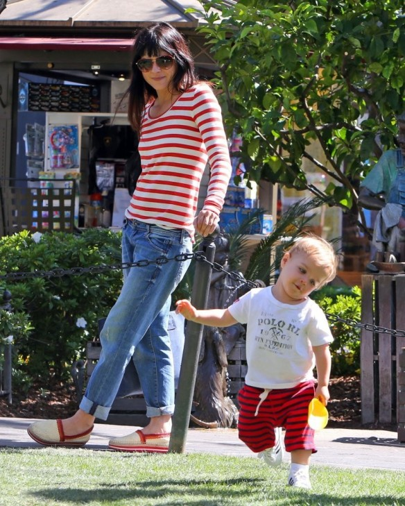 Selma Blair & Son in Stripes 10
