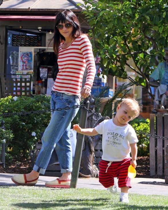 Selma Blair & Son in Stripes 10