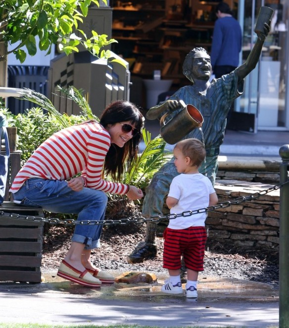 Selma Blair & Son in Stripes 11