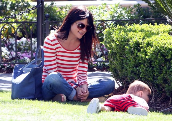Selma Blair & Son in Stripes 13