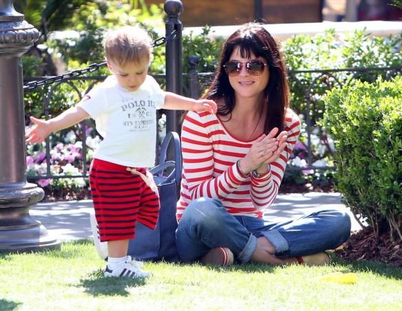 Selma Blair & Son in Stripes 14