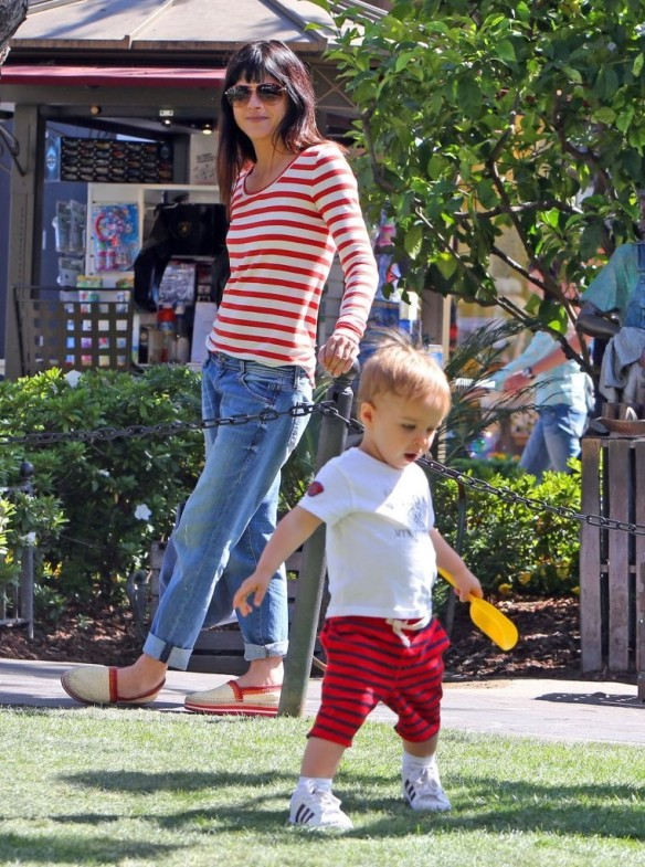 Selma Blair & Son in Stripes 15