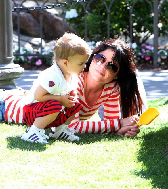 Selma Blair & Son in Stripes