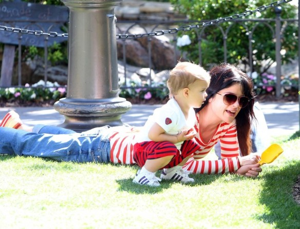 Selma Blair & Son in Stripes 18