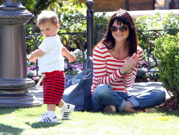 Selma Blair & Son in Stripes 19