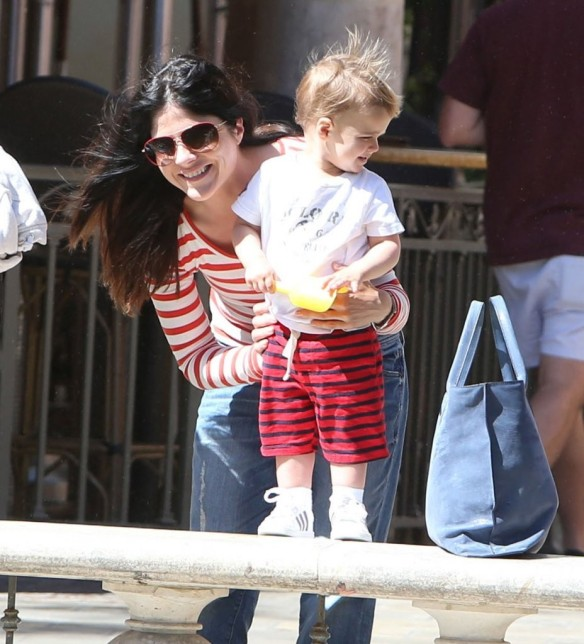 Selma Blair & Son in Stripes 2