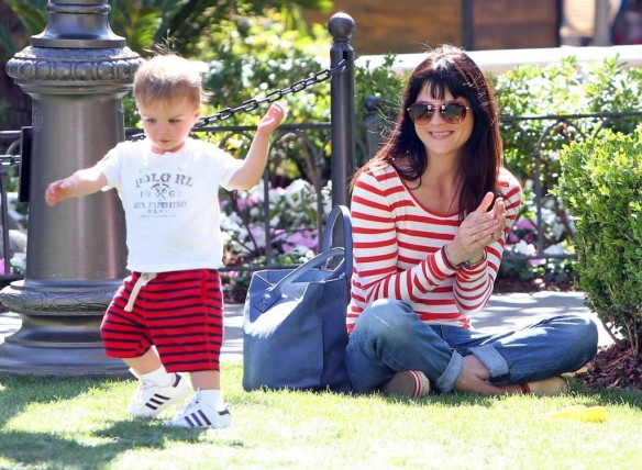 Selma Blair & Son in Stripes 20
