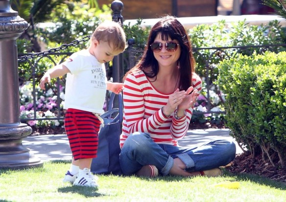 Selma Blair & Son in Stripes 21