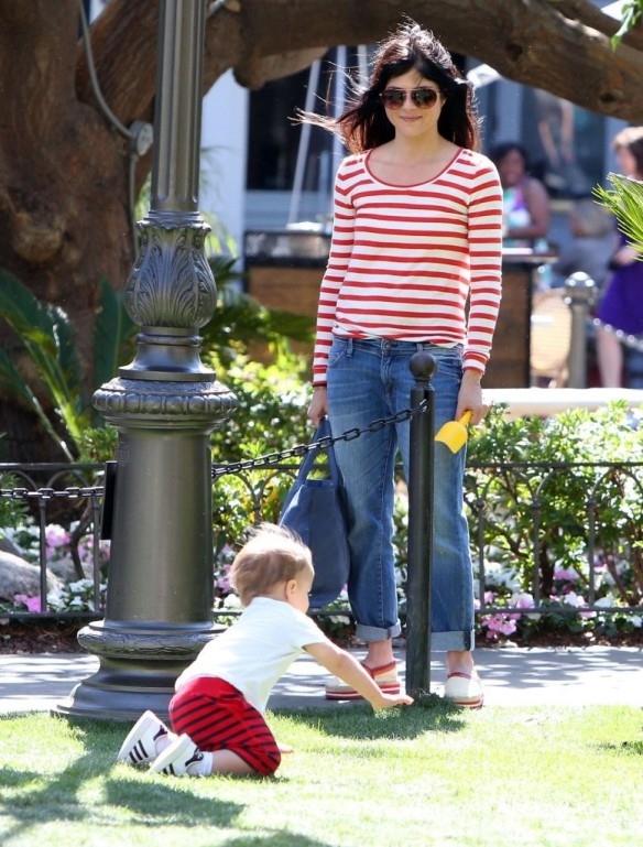 Selma Blair & Son in Stripes 24
