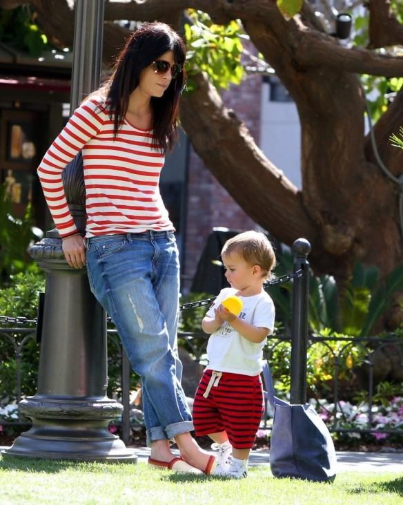 Selma Blair & Son in Stripes 25