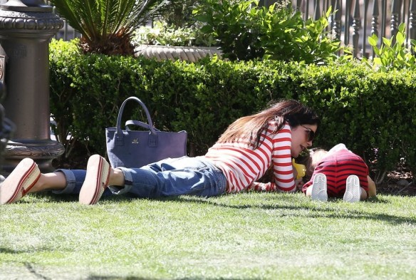 Selma Blair & Son in Stripes 27