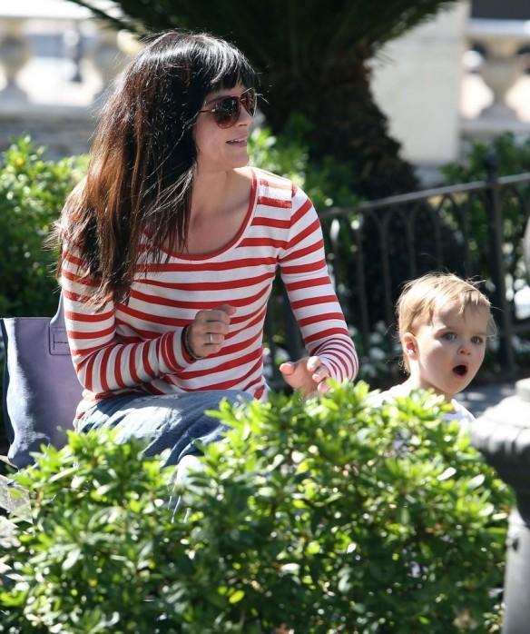 Selma Blair & Son in Stripes 28