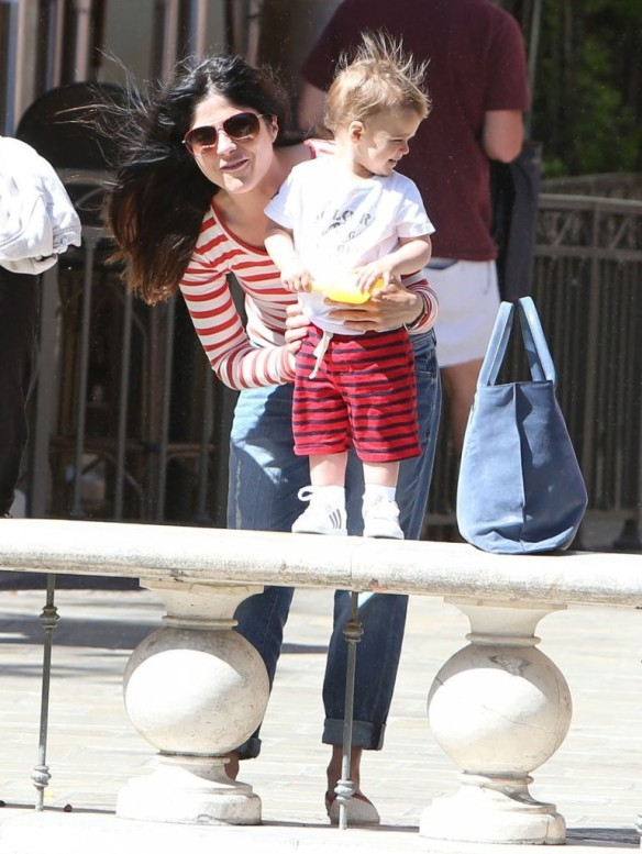 Selma Blair & Son in Stripes 3
