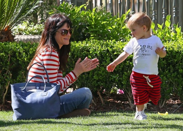 Selma Blair & Son in Stripes 32