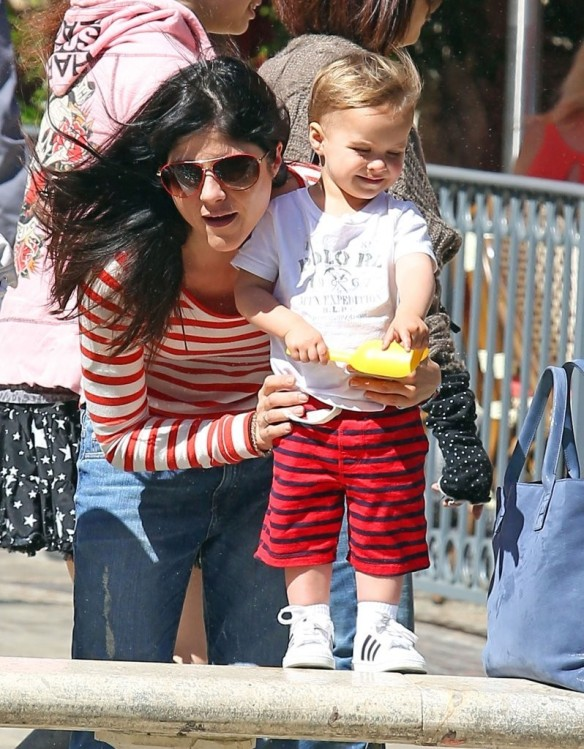 Selma Blair & Son in Stripes 38