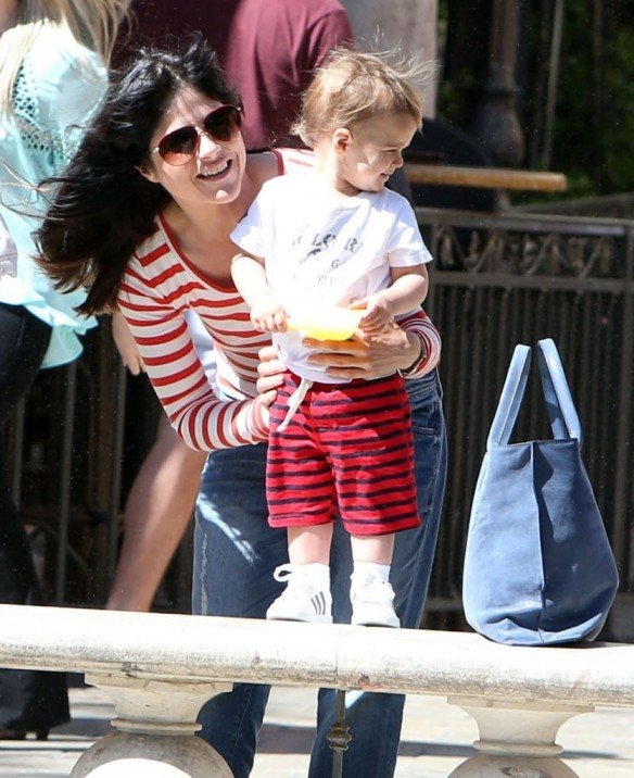 Selma Blair & Son in Stripes 4