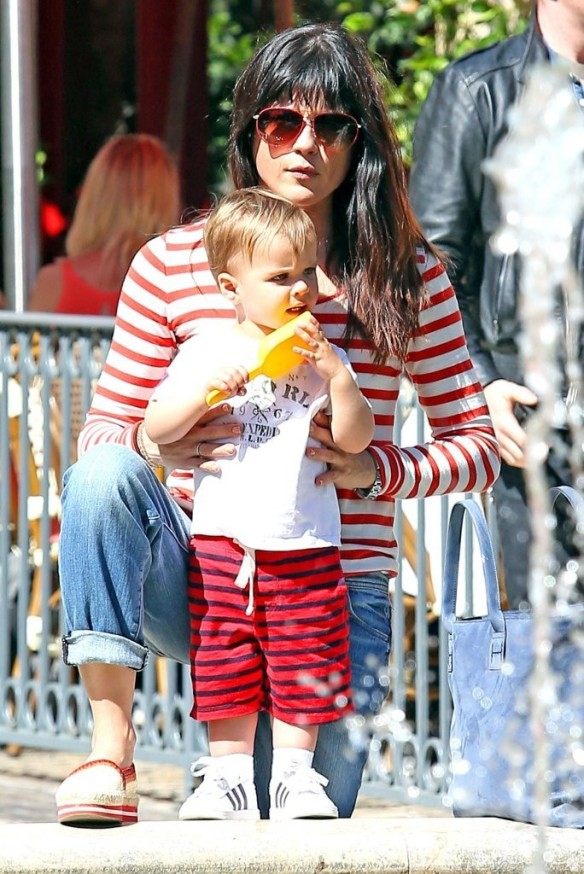 Selma Blair & Son in Stripes 40