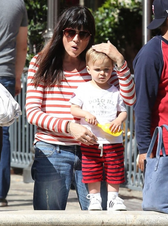 Selma Blair & Son in Stripes 44