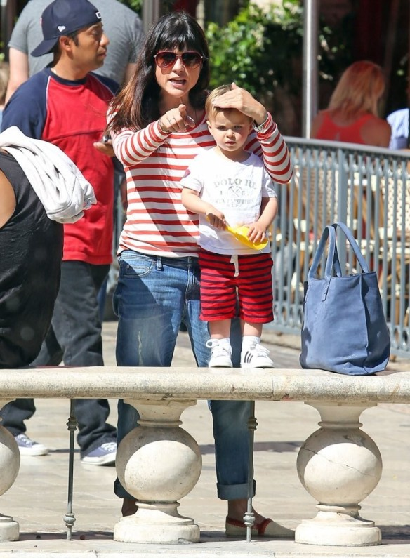 Selma Blair & Son in Stripes 45