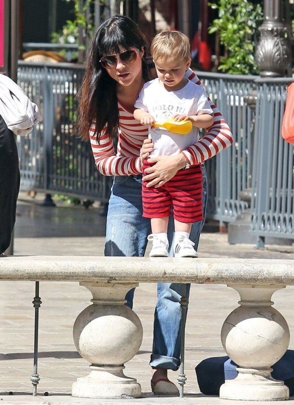 Selma Blair & Son in Stripes 46