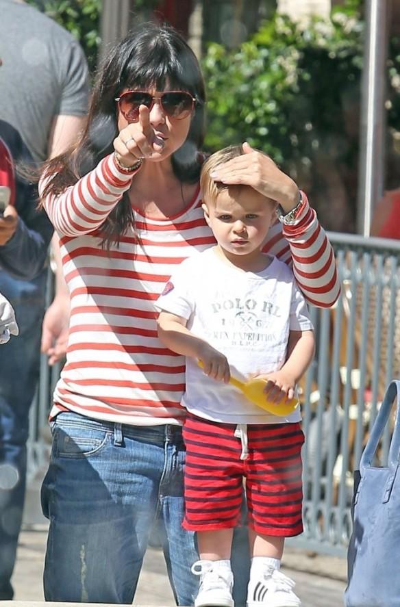 Selma Blair & Son in Stripes 48