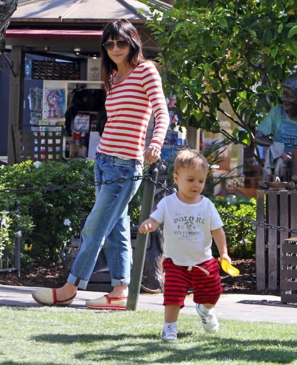 Selma Blair & Son in Stripes 9