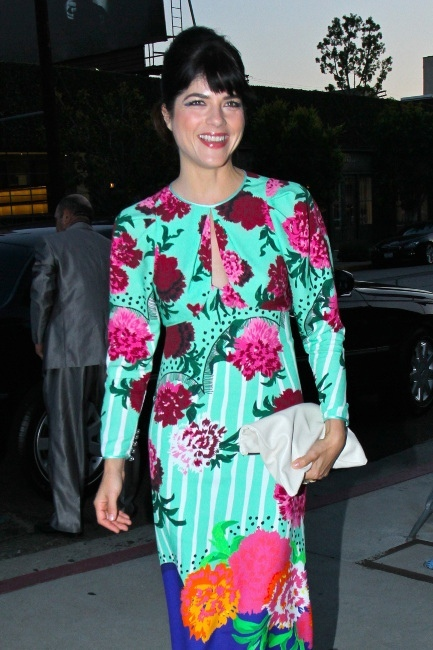 Selma Blair Wearing Marc Jacobs Resort 2013 And Carrying Claire Vivier Clutch