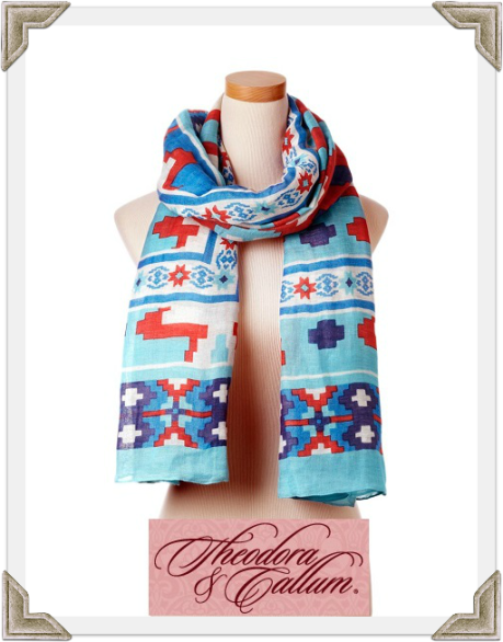 Theodora & Callum Turquoise Multi Yucatan Tie All Scarf worn by Selma Blair