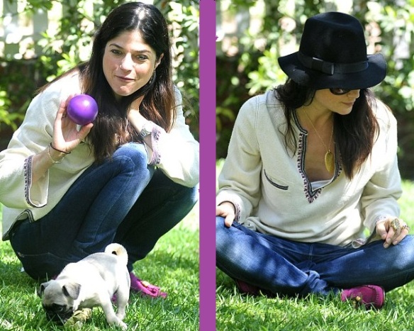 Selma Blair & Saint Playing Fetch With Puppy
