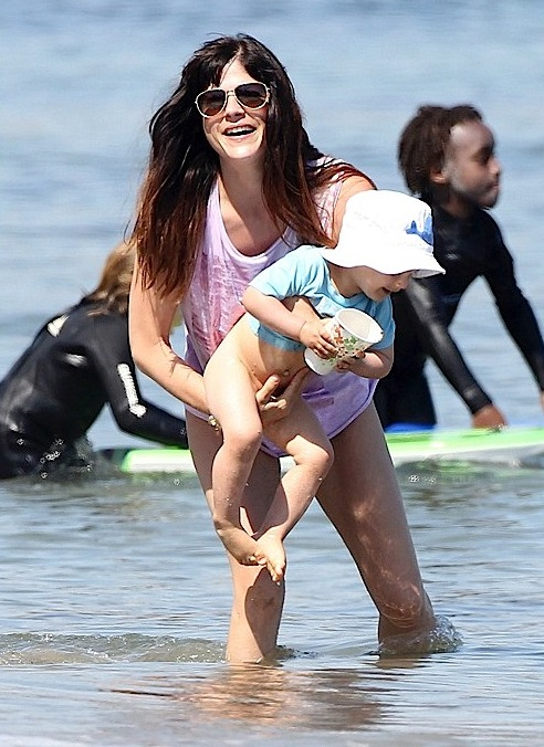 Selma Blair Spends Mother's Day In The Surf With Arthur 2
