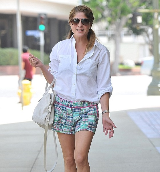 Selma Blair Wearing Adorable Vinyard Vines Patchwork Short Shorts 5