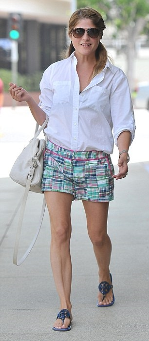 Selma Blair Wearing Adorable Vinyard Vines Patchwork Short Shorts 6