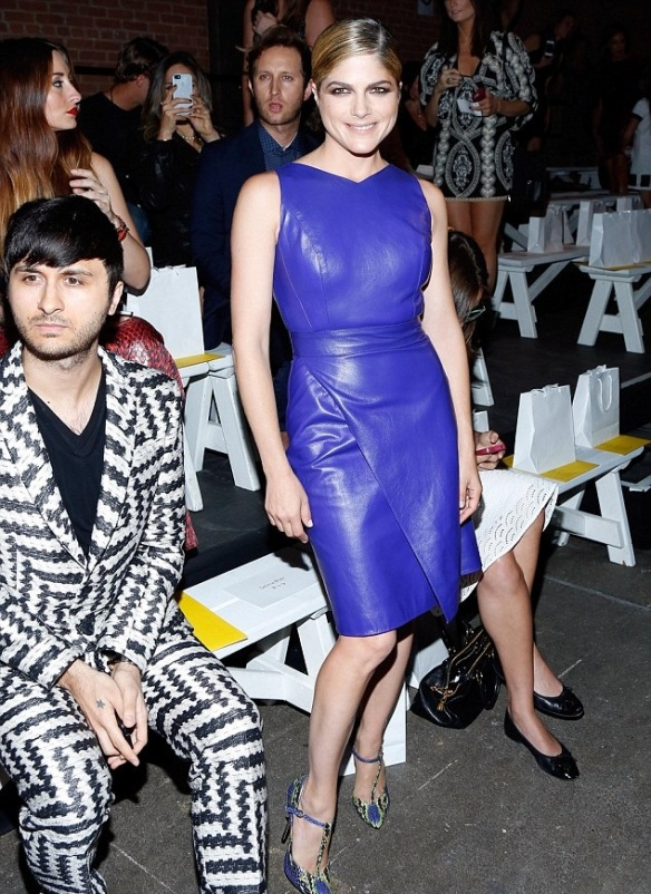 Selma Blair Rocks The Front Row In Midnight Blue Christian Siriano Leather 1