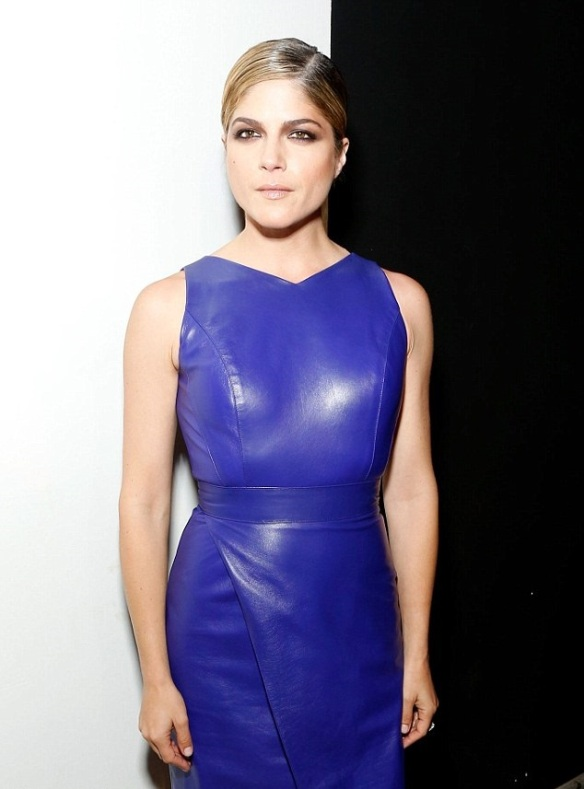Selma Blair Rocks The Front Row In Midnight Blue Christian Siriano Leather 3
