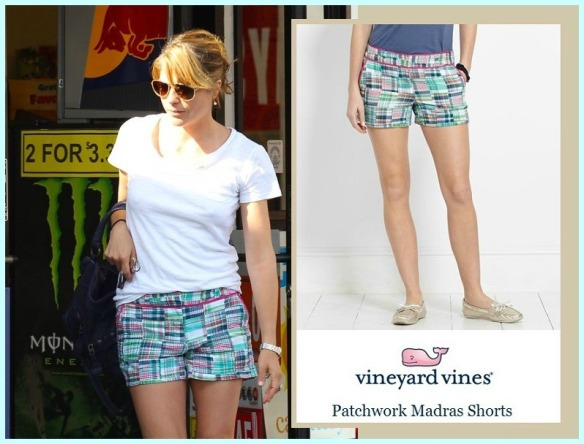 Vineyard Vines Patchwork Madras Shorts as seen on Selma Blair September 9, 2013