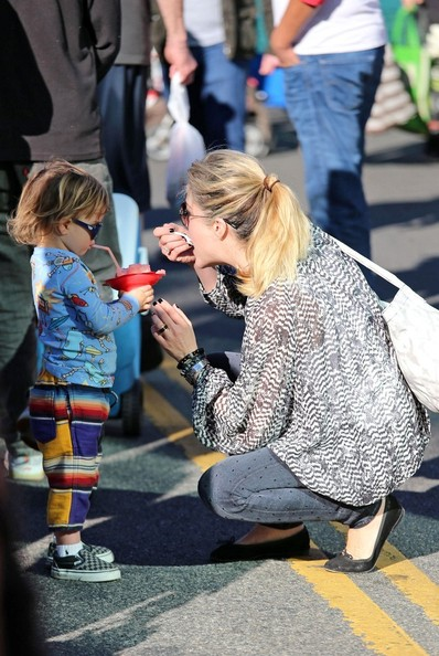 Selma Blair & Arthur Saint Pony Rides At Farmers Market 5
