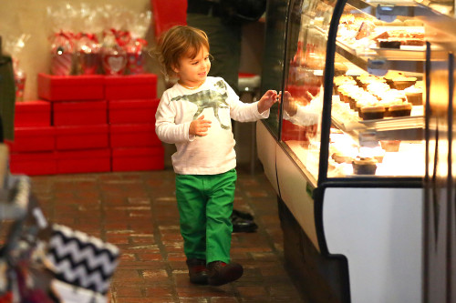 Selma Blair and Arthur visit their favorite Bakery