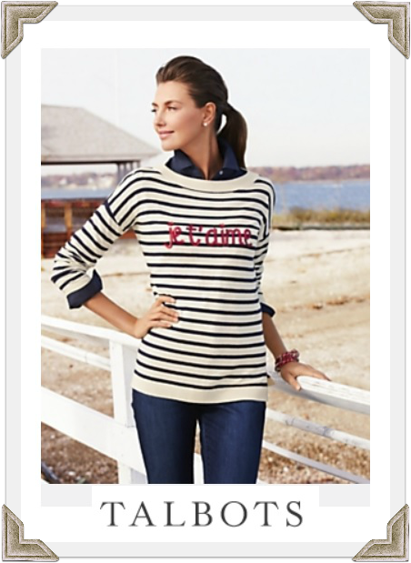 Talbots je t'aime striped sweater as seen worn by Selma Blair