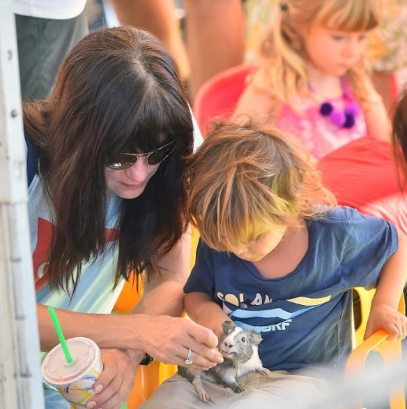 Selma Blair and son Arthur at petting zoo with Breckin Meyer