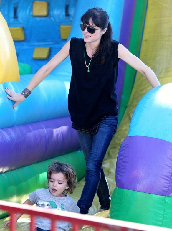 Selma Blair & Son Arthur Saint Blair-Bleick Farmers Market Tattoos Slides And Snowcones 8