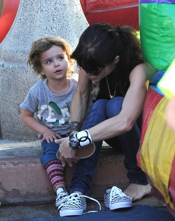 Selma Blair & Son Arthur Saint Blair-Bleick Farmers Market Tattoos Slides And Snowcones 9