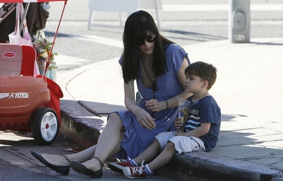 Selma Blair and Arthur Having Fun At Farmers Market 2