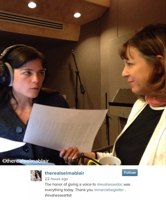 therealselmablair doing voice work on Eva Hesse documentary